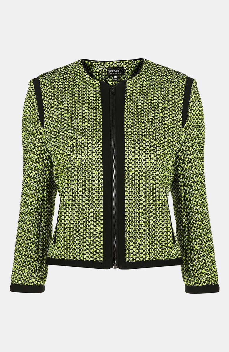 TOPSHOP Neon Bouclé Jacket, Main, color, 300