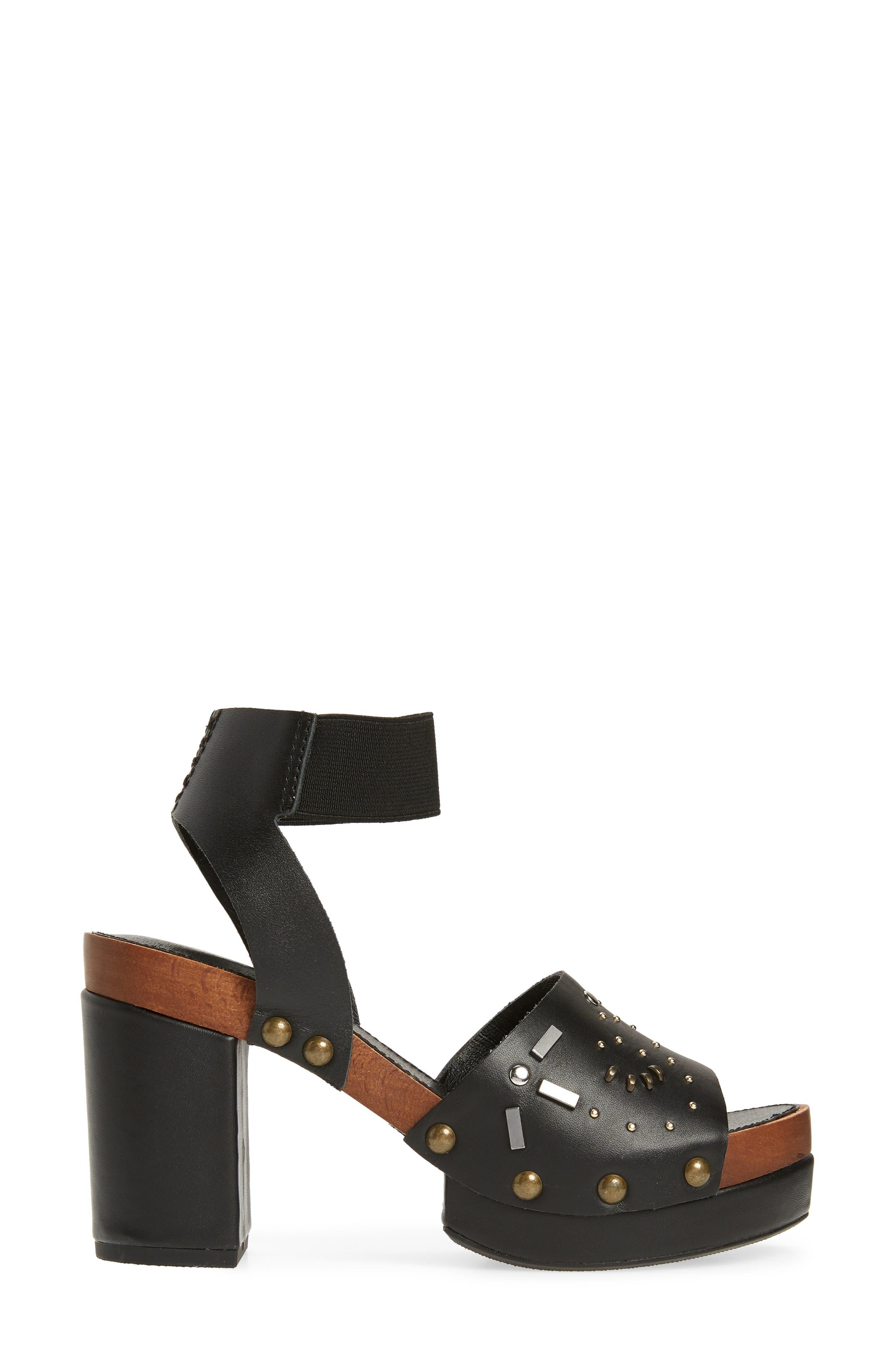 ,                             Frida Studded Platform Sandal,                             Alternate thumbnail 3, color,                             BLACK
