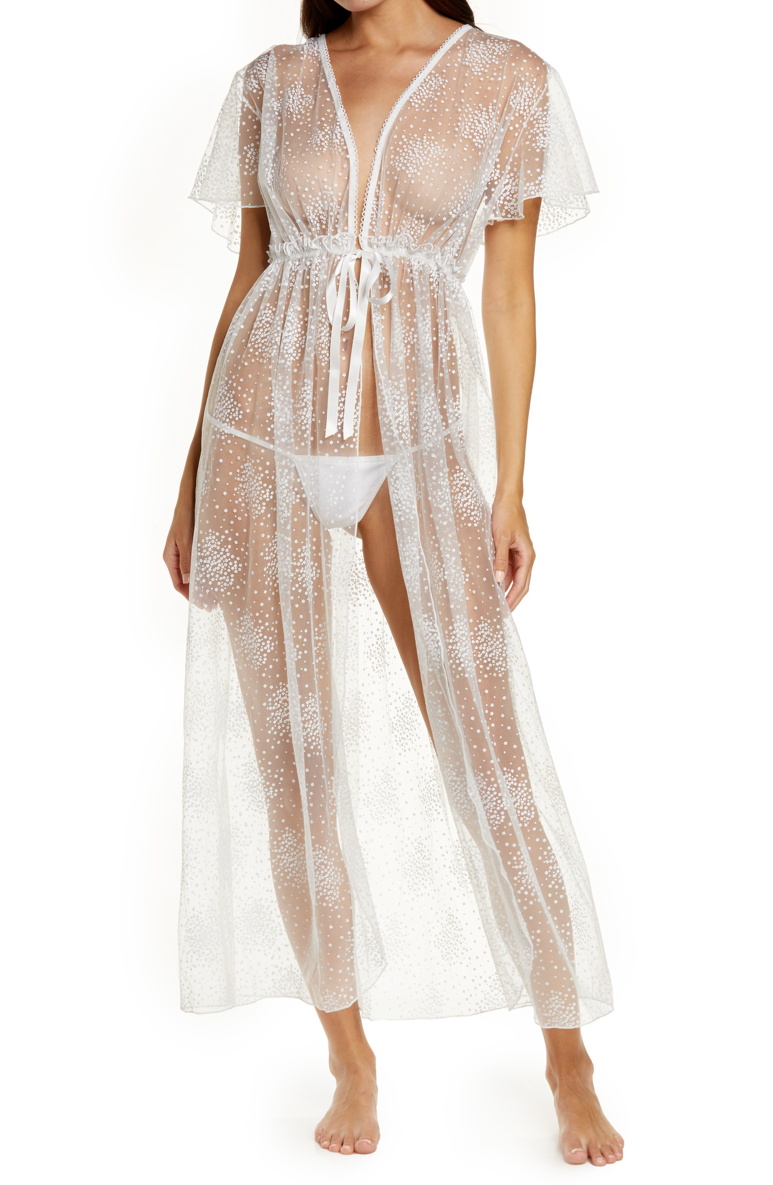 Long Lace Robe & G-String Thong Set