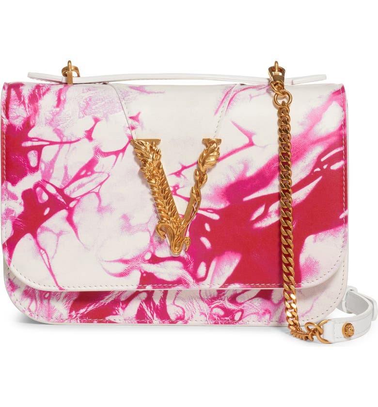 VERSACE FIRST LINE Verace First Line Virtus Tie Dye Leather Crossbody Bag, Main, color, FUXIA/ BIANCO/ ORO TRIBUTE