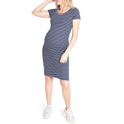 Ingrid & Isabel Short Sleeve Maternity Dress, Blue