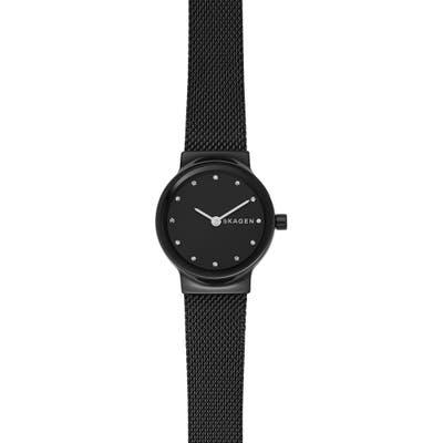 Skagen Freja Crystal Accent Mesh Strap Watch, 2m