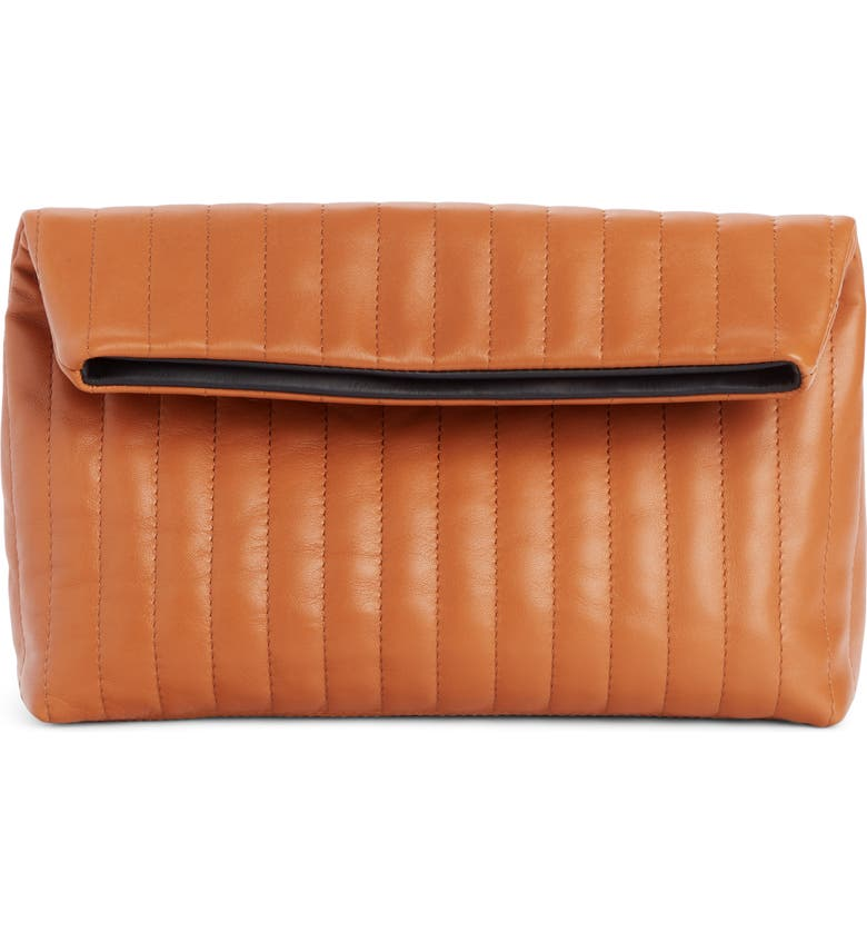 DRIES VAN NOTEN Quilted Leather Foldover Clutch, Main, color, RUST