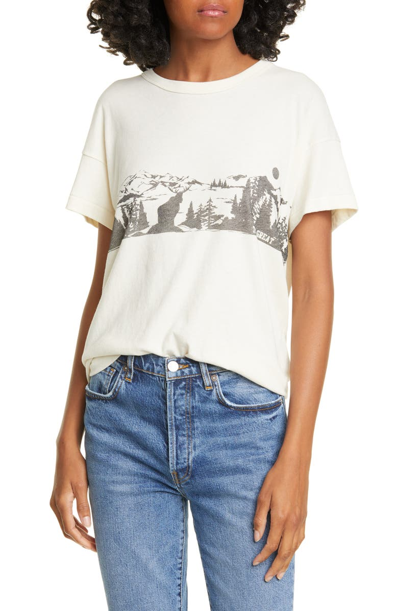 THE GREAT. The Boxy Crew Alpine Graphic Tee, Main, color, WASHED WHITE