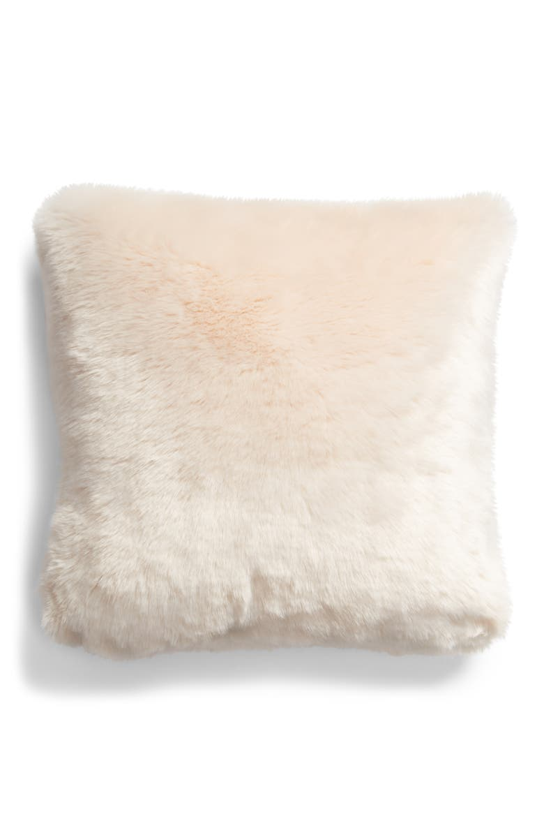 RACHEL PARCELL Frost Faux Fur Accent Pillow, Main, color, PINK PEONY BUD