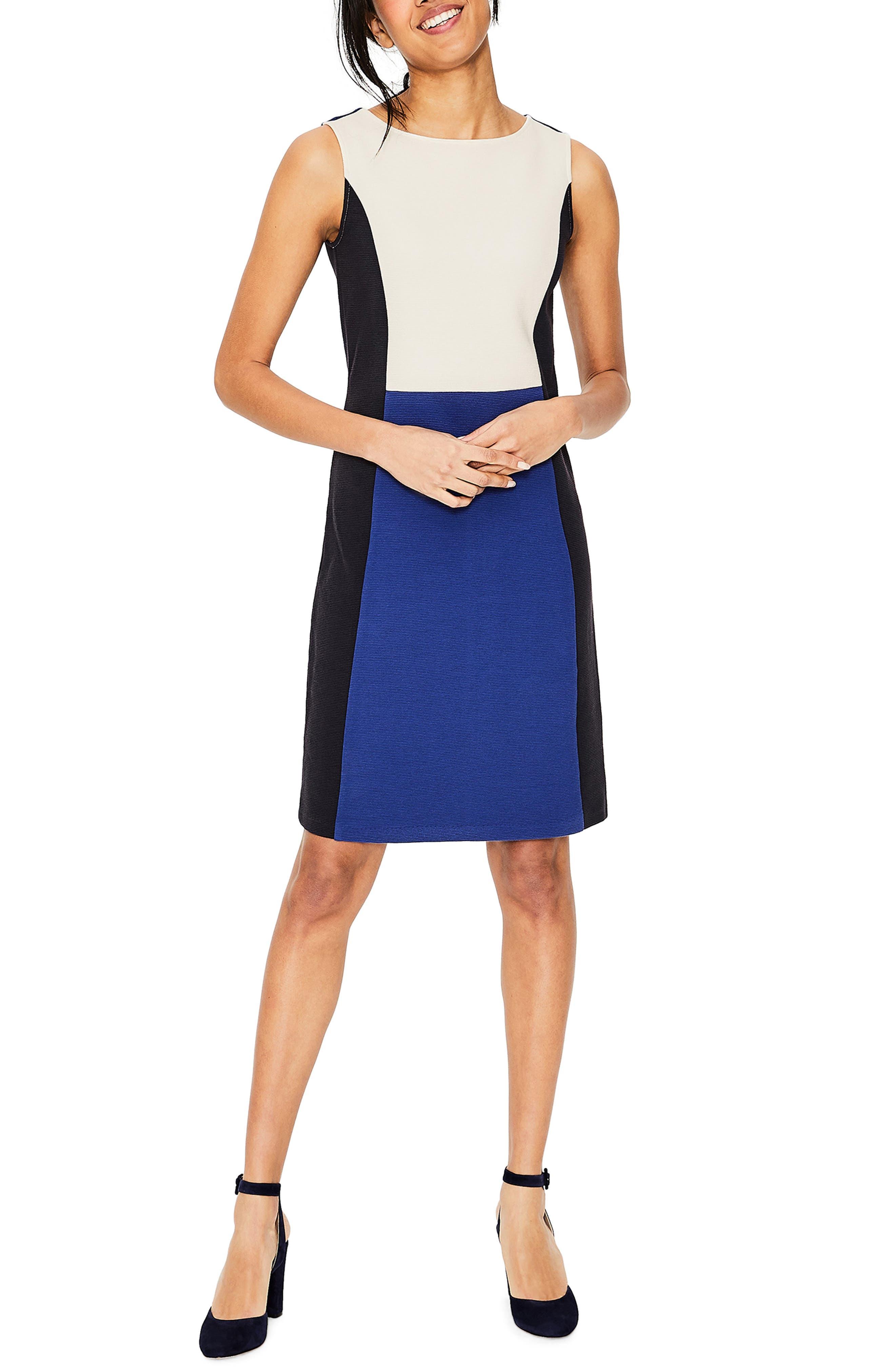 Boden Geraldine Ottoman Shift Dress, Blue