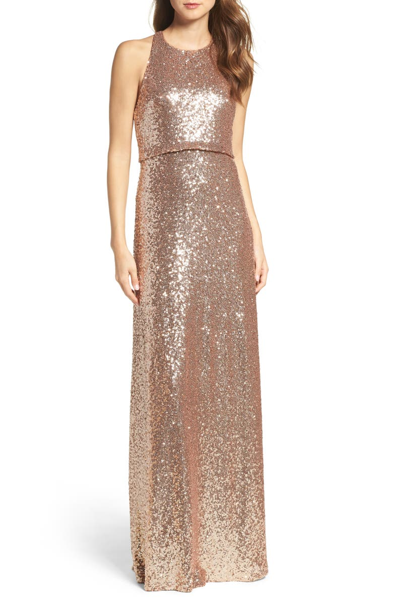 JENNY YOO Sloane Sequin Halter Gown, Main, color, 686