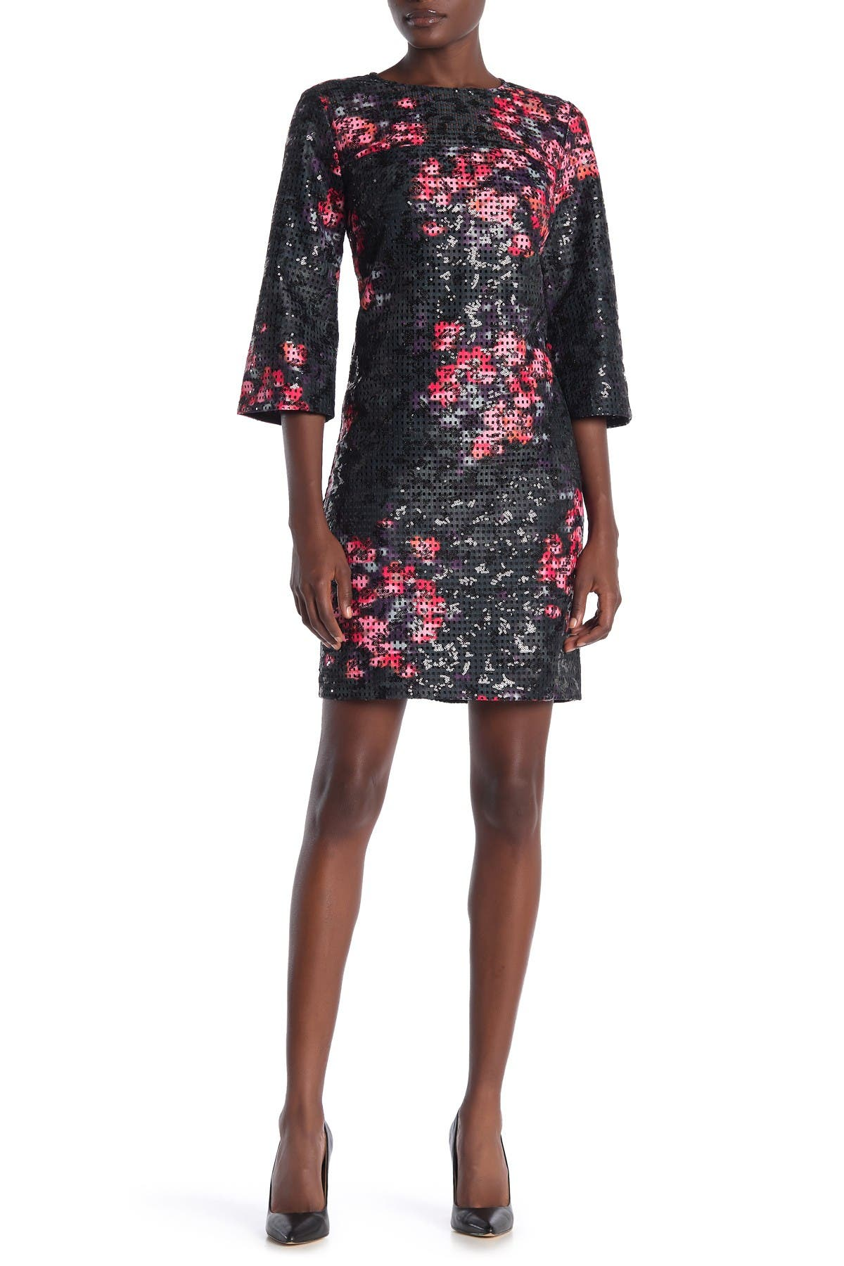 Image of trina Trina Turk Grenandine Floral Print Perforated Dress