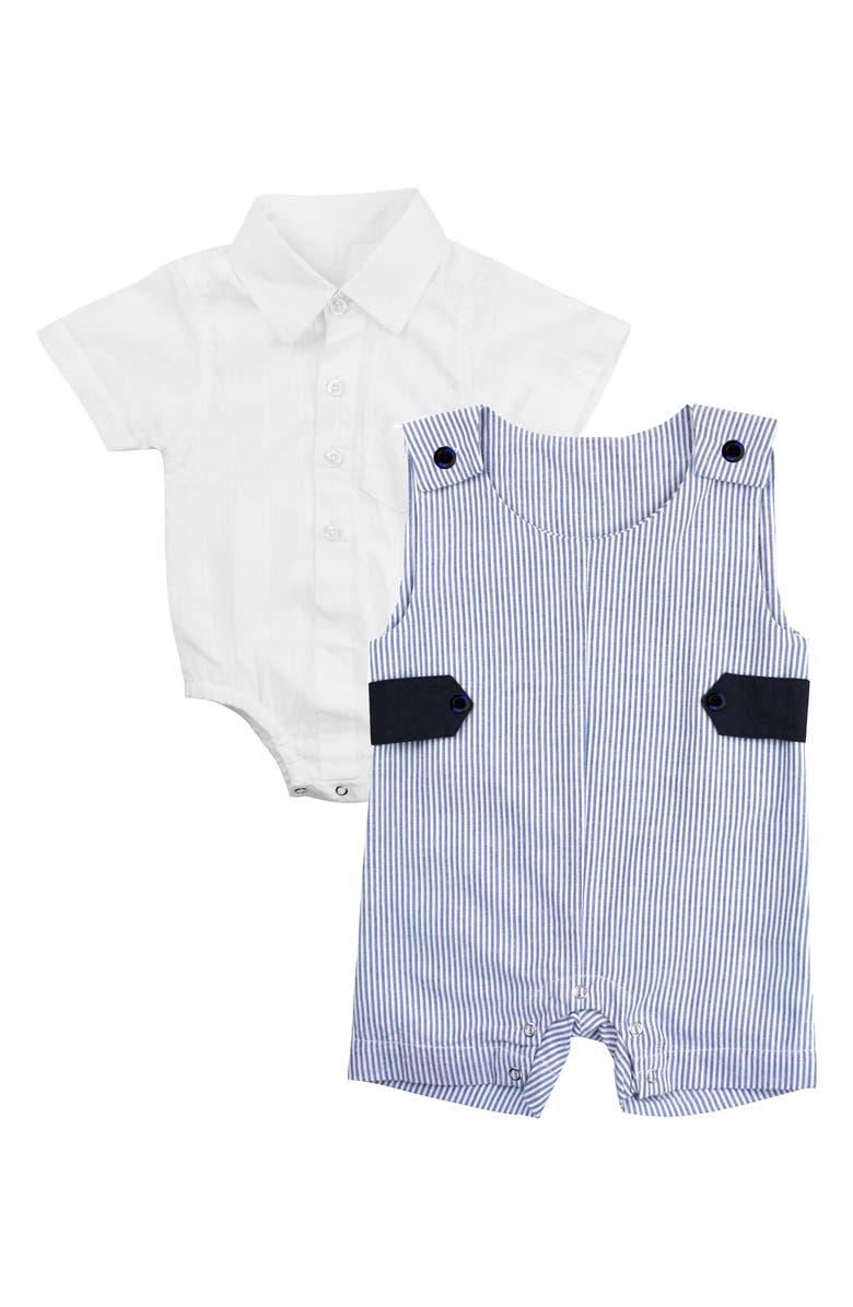 RUGGEDBUTTS Jon Jon Collar Bodysuit & Stripe Overalls Set, Main, color, 400