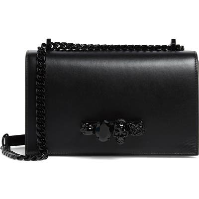 Alexander Mcqueen Blackout Leather Crossbody Knuckle Bag - Black