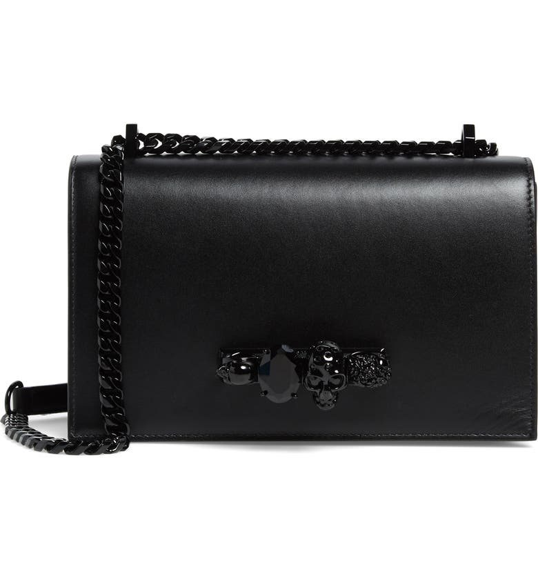 ALEXANDER MCQUEEN Blackout Leather Crossbody Knuckle Bag, Main, color, BLACK