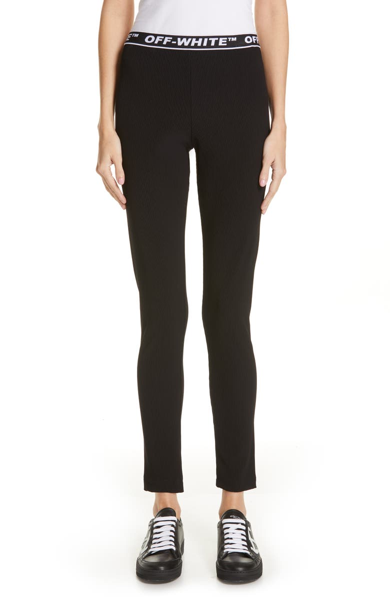 OFF-WHITE Ribbed Leggings, Main, color, 001