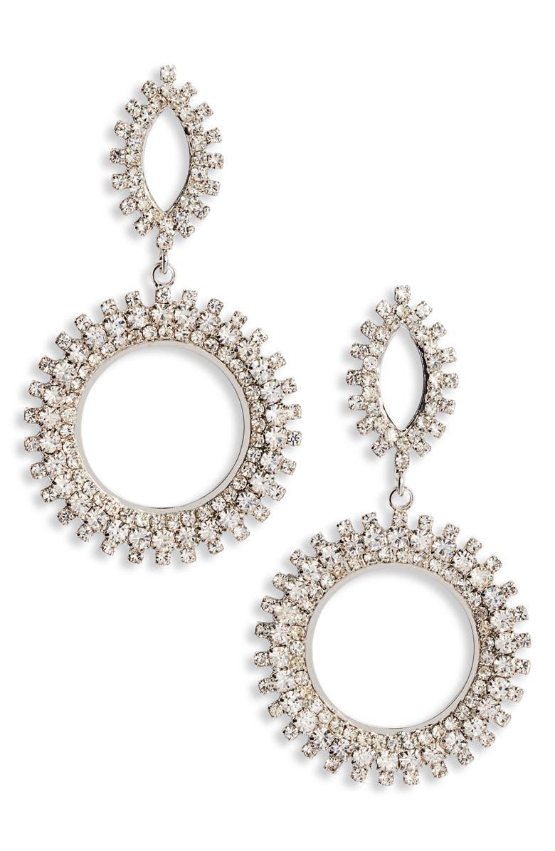 CRISTABELLE Crystal Spike Hoop Earrings, Main, color, 040