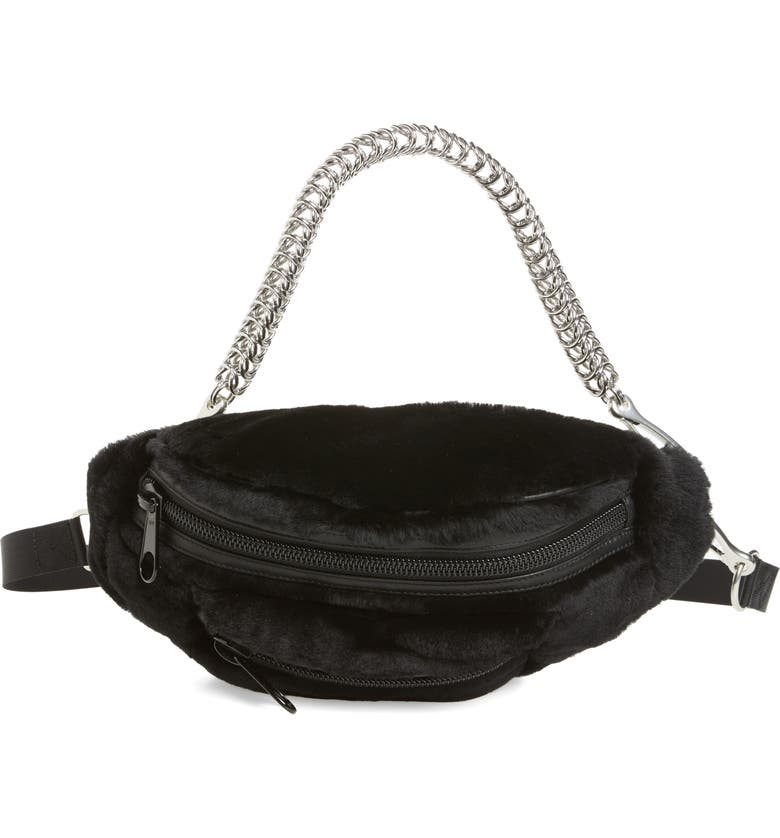 ALEXANDER WANG Primary Box Chain Genuine Shearling Fanny Pack, Main, color, 001