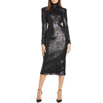 Cinq A Sept Daniela Cutout Long Sleeve Sequin Dress, Black