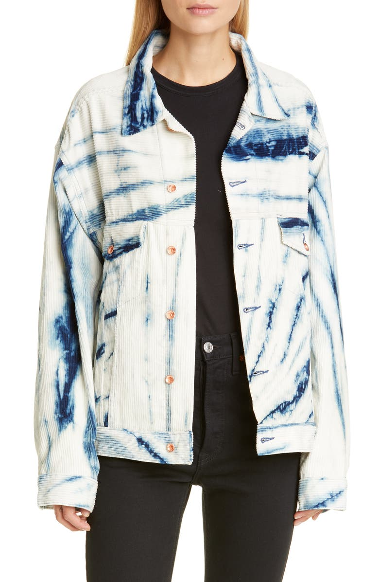 STORY MFG. Monday Tie Dye Corduroy Jacket, Main, color, NATURAL INDIGO RIPPLE