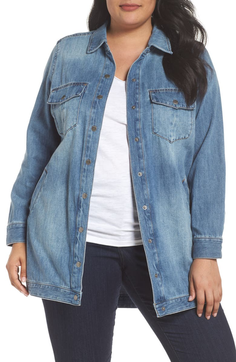LIVERPOOL Long Denim Shirt Jacket, Main, color, 404