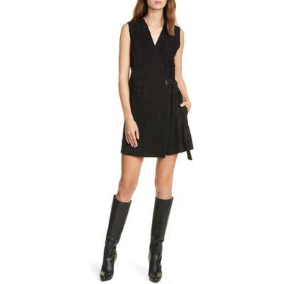 Club Monaco Sleeveless Suede Wrap Dress, Black