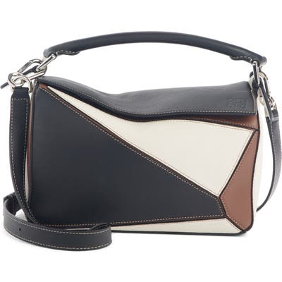 Loewe Small Puzzle Colorblock Leather Bag - Black