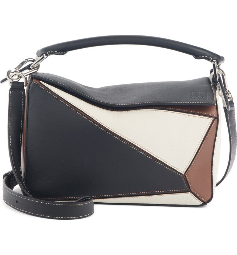 LOEWE Small Puzzle Colorblock Leather Bag, Main, color, BLACK/ BRUNETTE