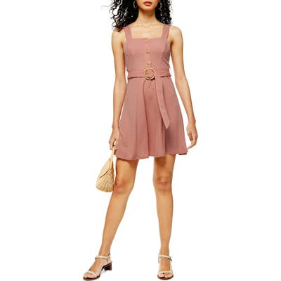 Topshop Sleeveless Button Front Belted Minidress, US (fits like 0) - Pink