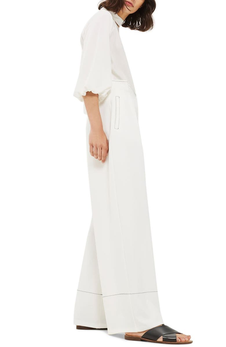 TOPSHOP Stitched Wide Leg Trousers, Main, color, 900