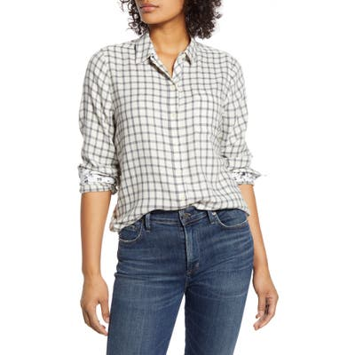 Lucky Brand Classic Plaid Contrast Button-Up Shirt, Grey