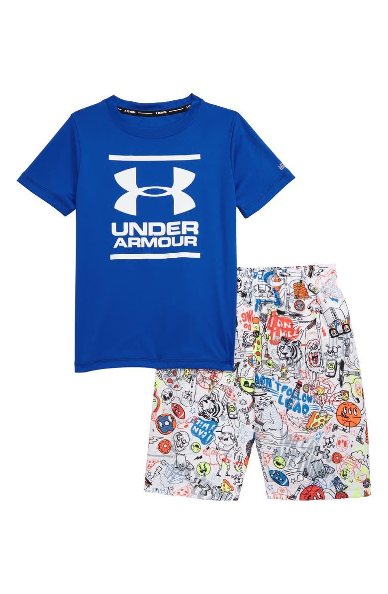 UNDER ARMOUR HeatGear<sup>®</sup> Scribble Volley Rashguard & Swim Trunks Set, Main, color, VERSA BLUE