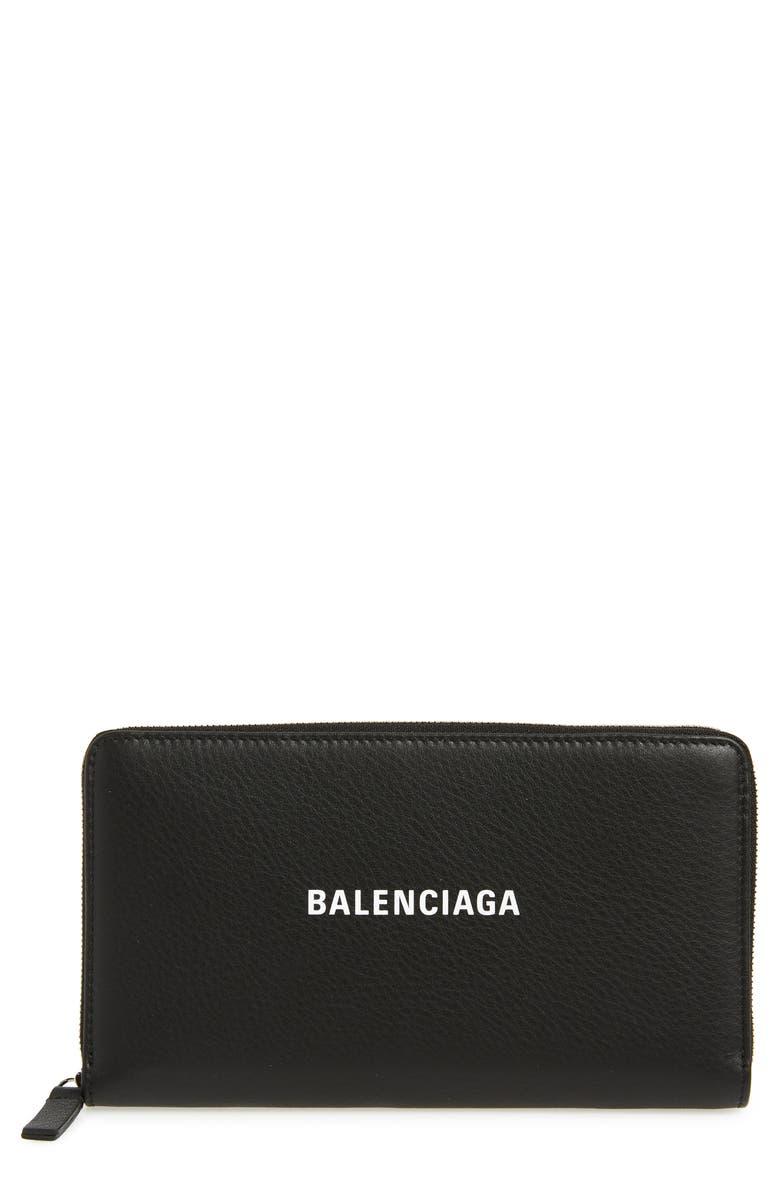 BALENCIAGA Everyday Leather Accordion Wallet, Main, color, BLACK/ WHITE