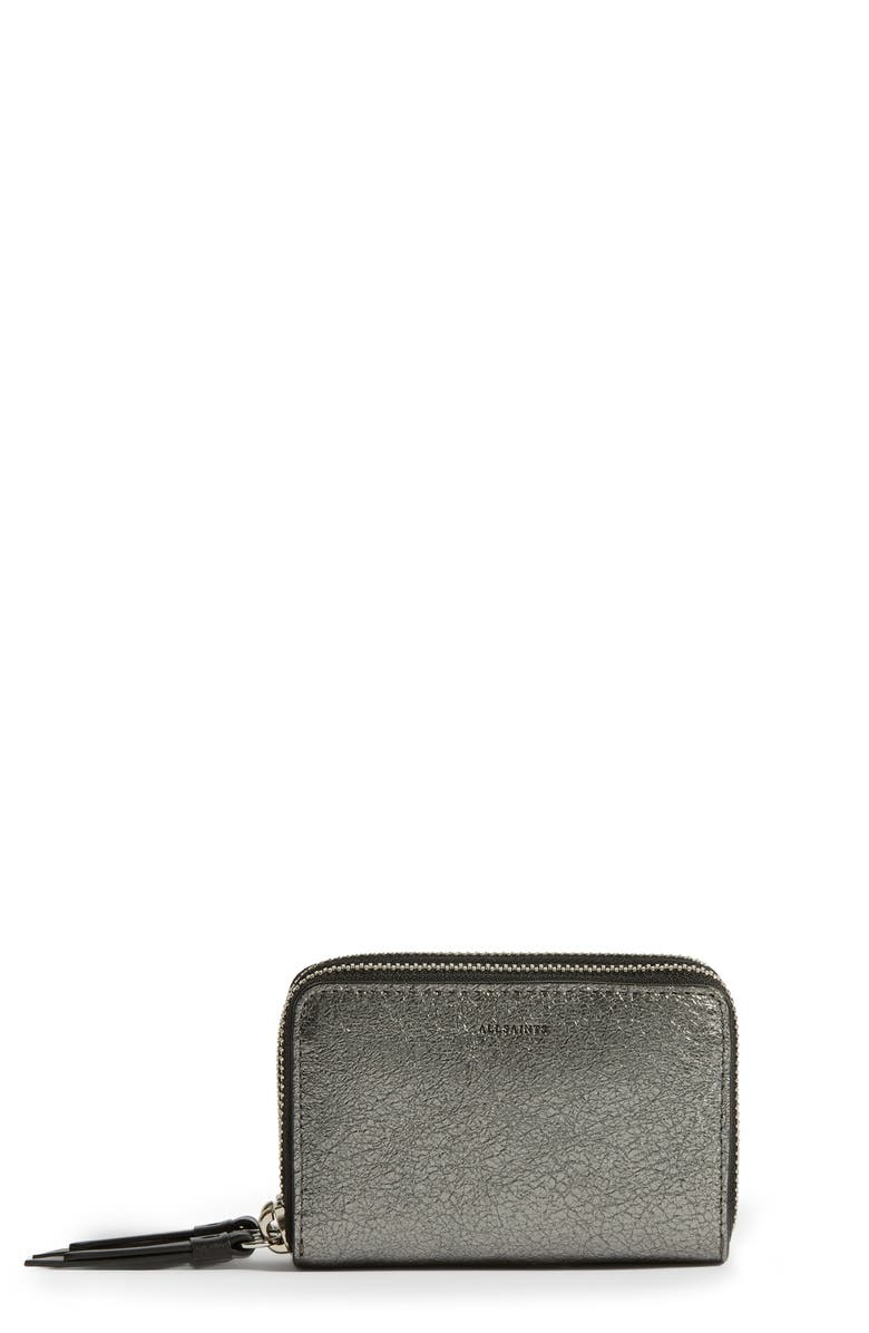 ALLSAINTS Miki Metallic Leather Card Holder, Main, color, GUNSMOKE GREY