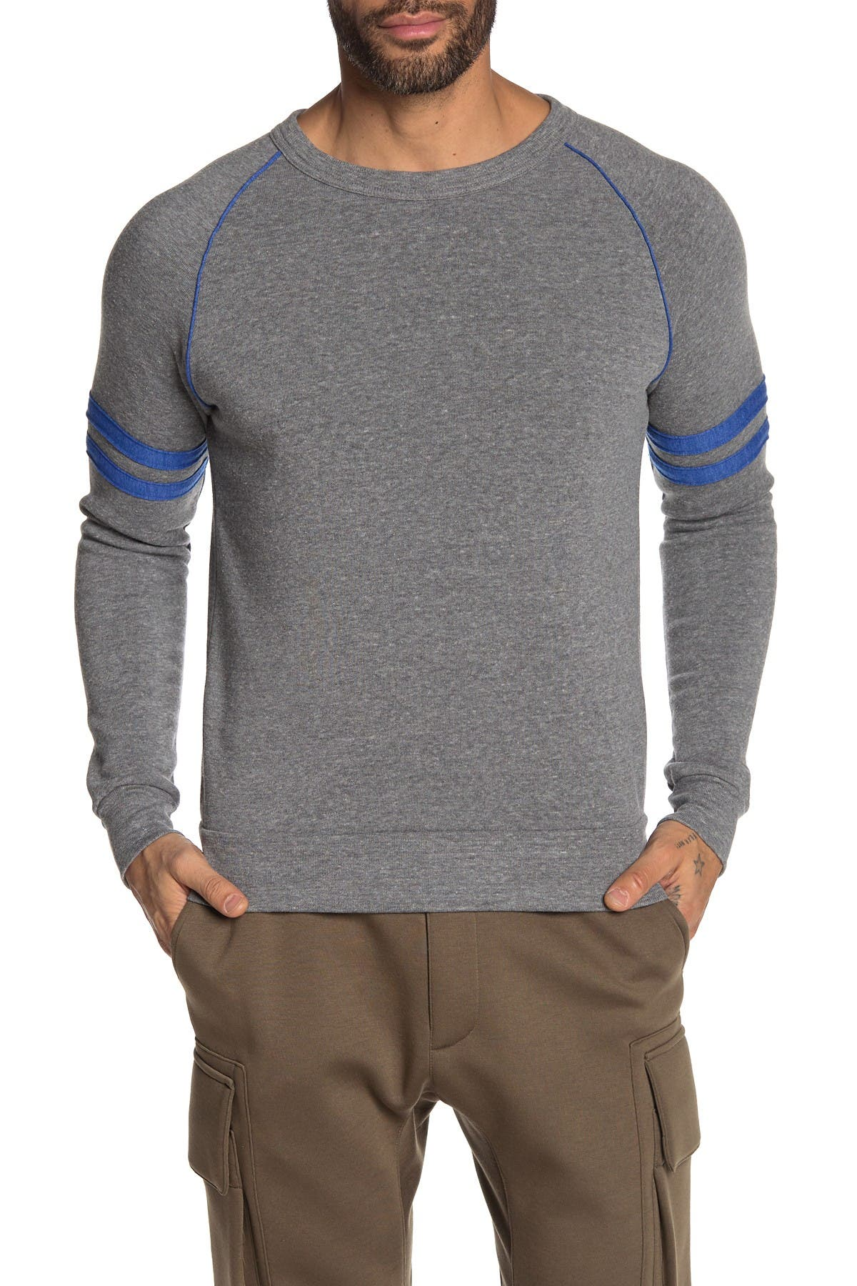 Image of Alternative Varsity Stripe Sleeve Pullover Sweater