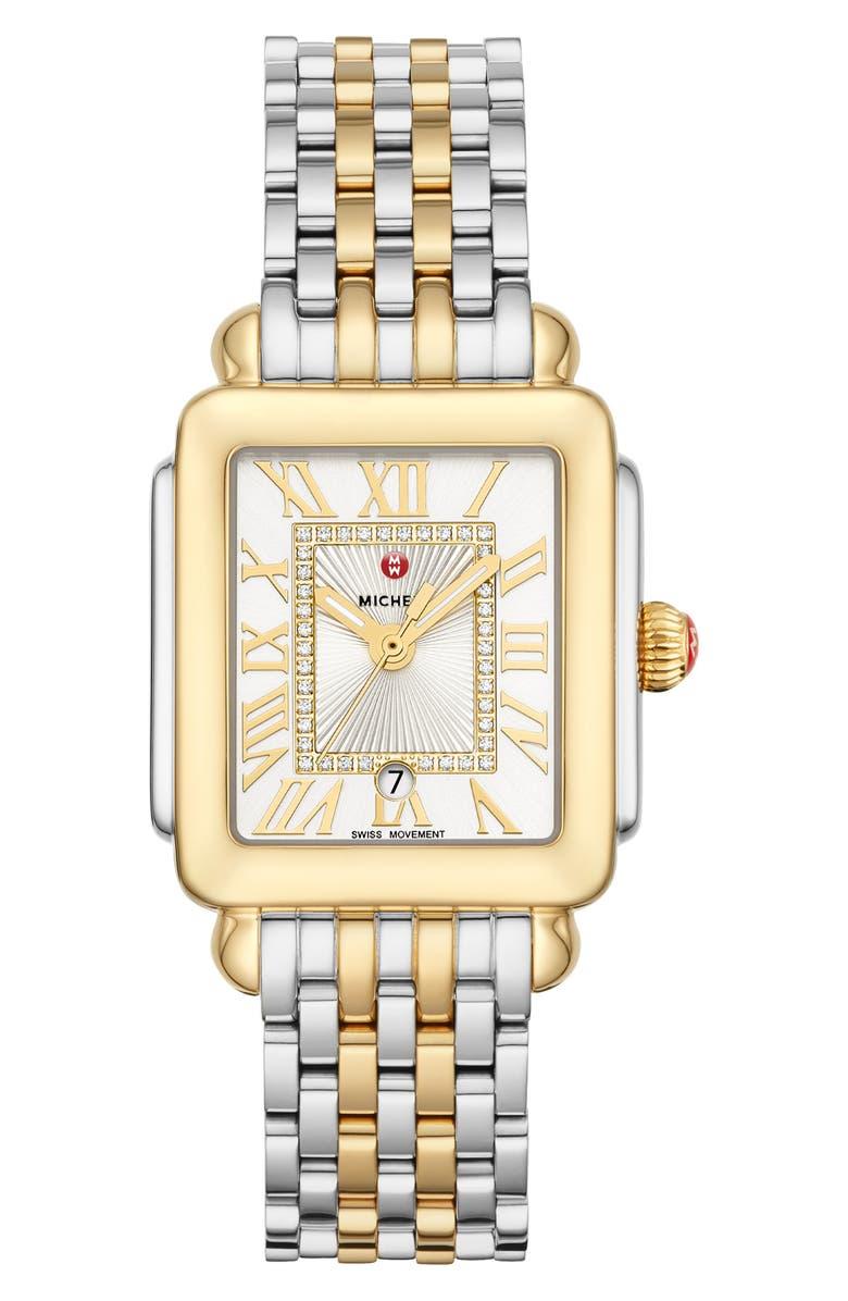 MICHELE Deco Madison Diamond Dial Watch Head & Bracelet, 29mm x 31mm, Main, color, GOLD/ SILVER