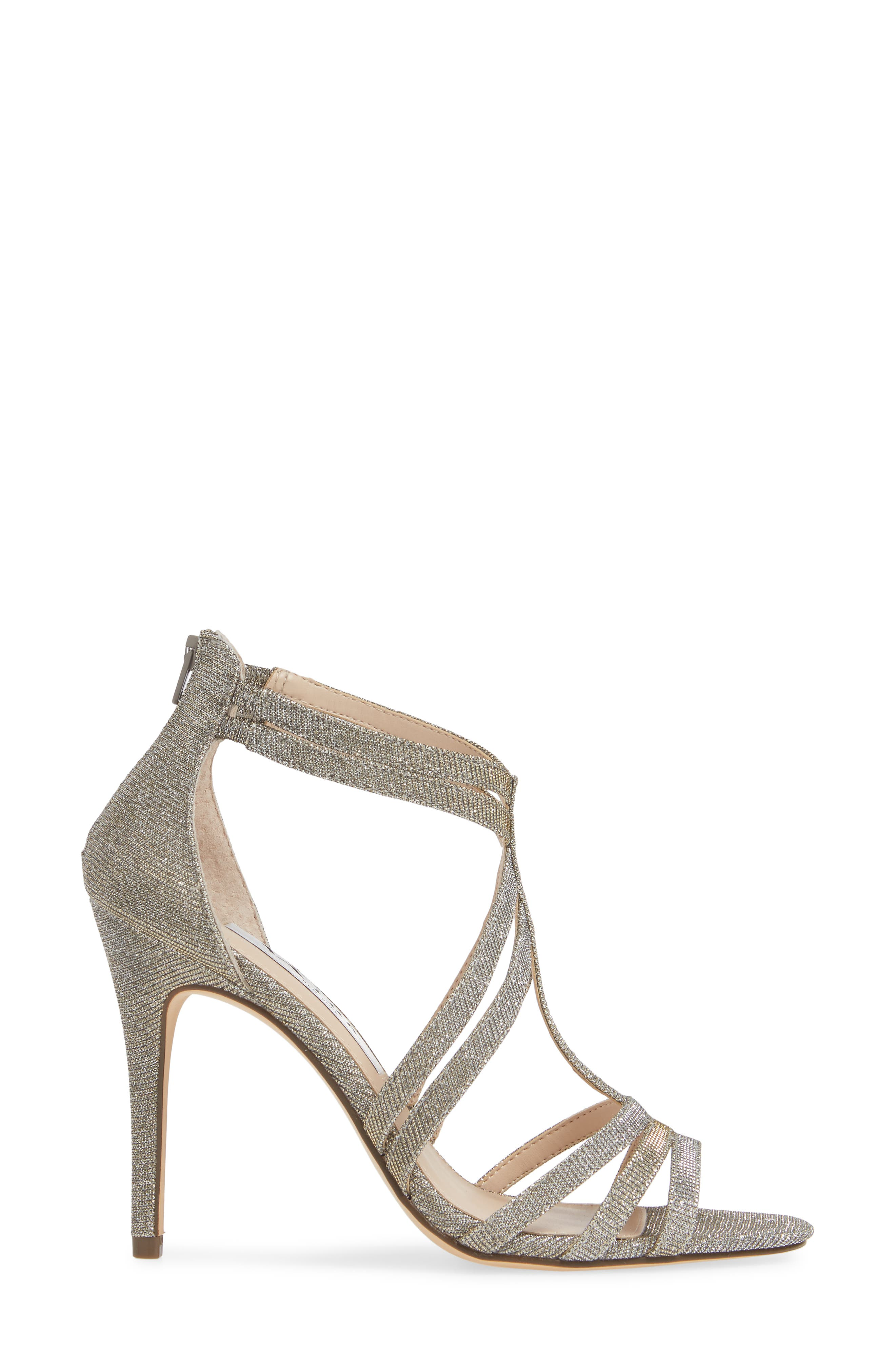 ,                             Carlie Ankle Strap Sandal,                             Alternate thumbnail 3, color,                             STEEL GLITTER FABRIC