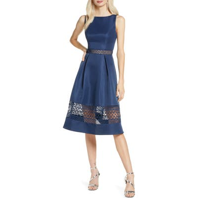 Chi Chi London Delia Fit & Flare Dress, Blue