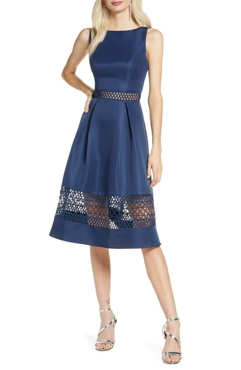 CHI CHI LONDON Delia Fit & Flare Dress, Main, color, NAVY