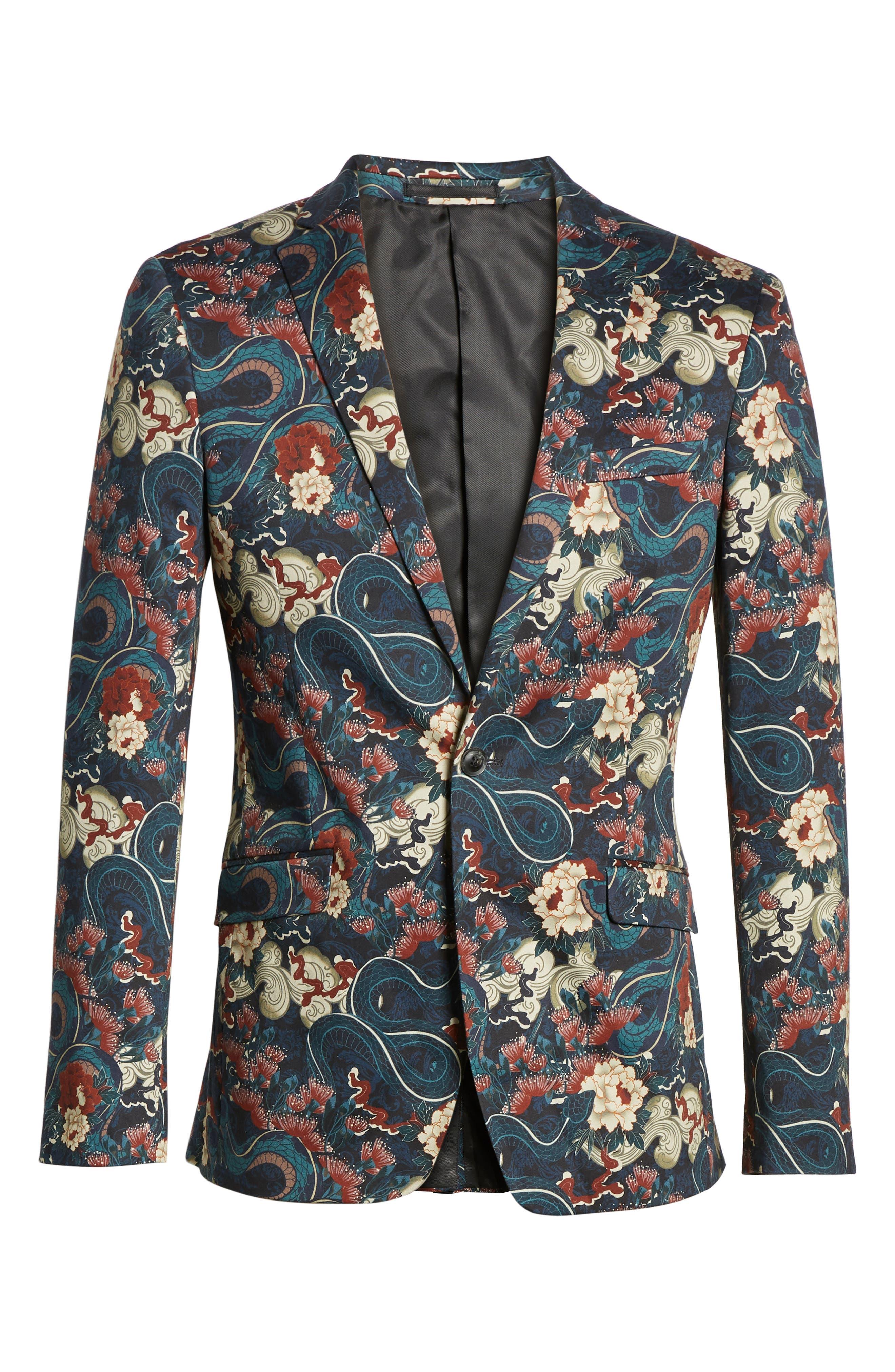 ,                             Skinny Fit Japan Print Suit Jacket,                             Alternate thumbnail 6, color,                             BLACK
