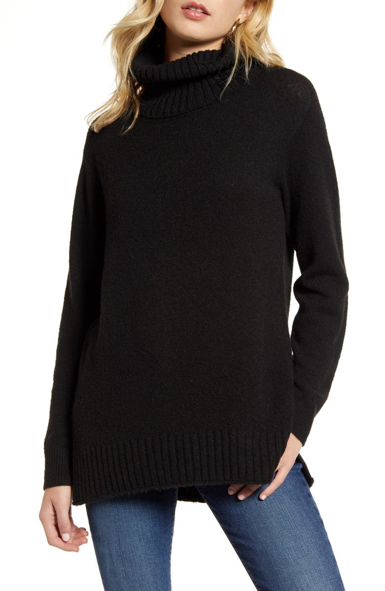 BP. Longline Turtleneck Sweater, Main, color, BLACK