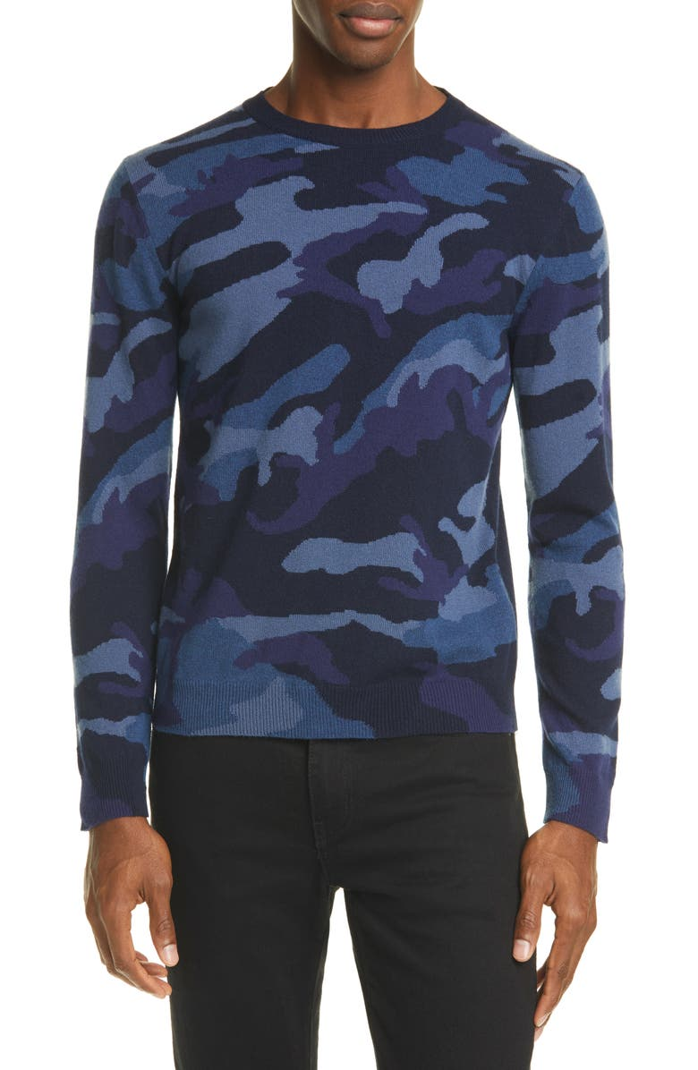 VALENTINO Maglia Camo Cashmere Sweater, Main, color, NAVY/ IVY