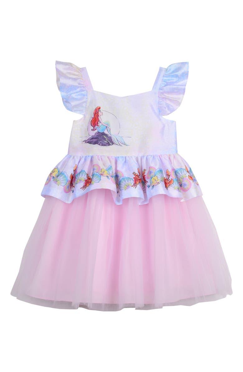 PIPPA & JULIE Disney<sup>®</sup> Little Mermaid Peplum Dress, Main, color, MULTI