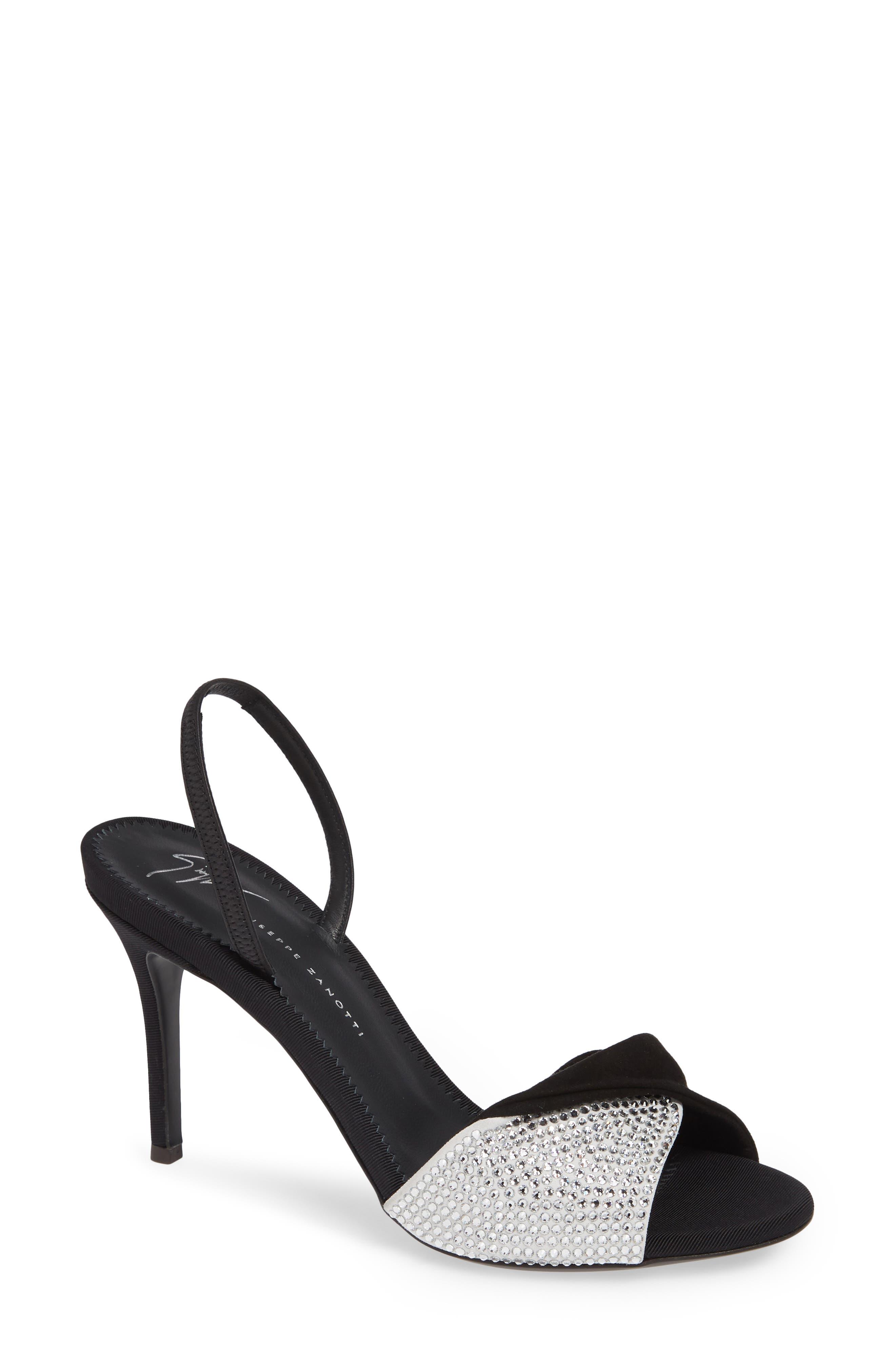 Swarovski Crystal Embellished Slingback Sandal, Main, color, BLACK
