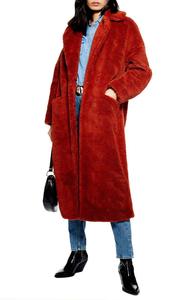 TOPSHOP Luxe Faux Fur Coat, Main, color, 220