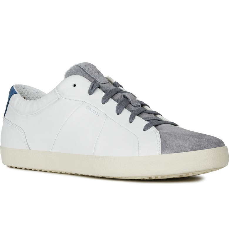 GEOX Warley Sneaker, Main, color, WHITE/ GREY LEATHER/ SUEDE