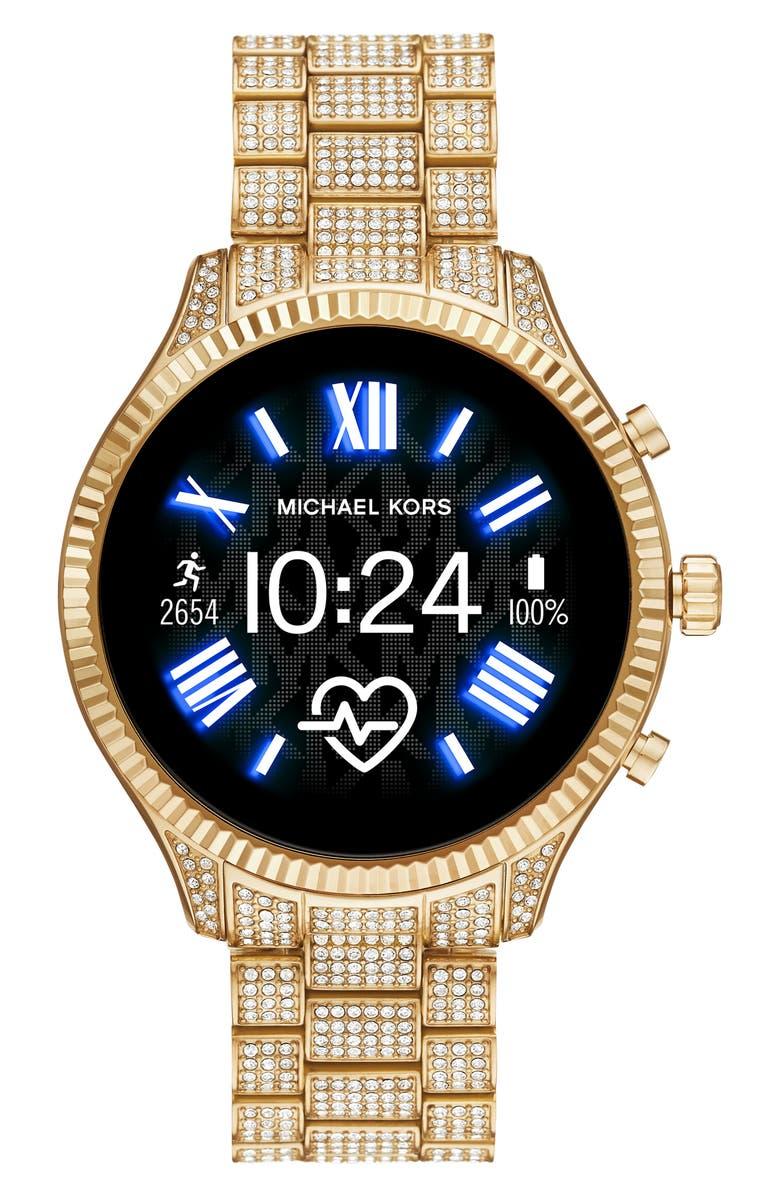 MICHAEL KORS ACCESS Michael Kors Gen 5 Lexington Pavé Crystal Bracelet Smart Watch, 44mm, Main, color, 710