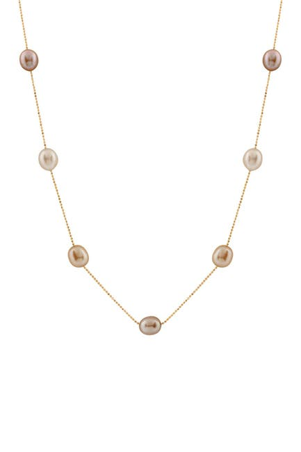Image of Splendid Pearls 10K Yellow Gold 8-8.5mm Multicolored Freshwater Pearl Tin Cup Necklace