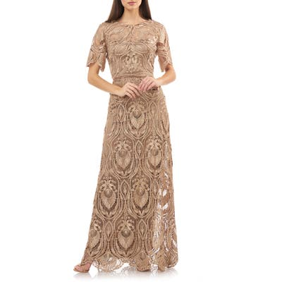 Js Collection Illusion Lace Evening Dress