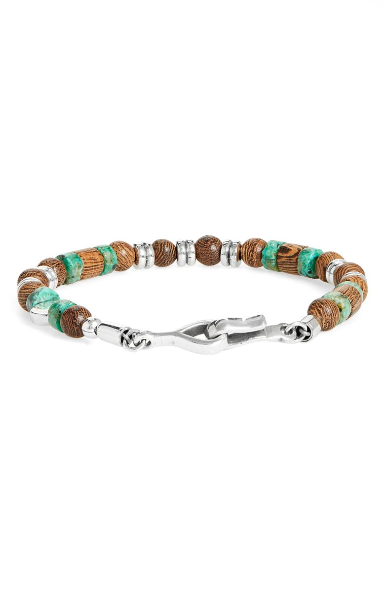 CAPUTO & CO. Faceted Turquoise & Wood Bead Bracelet, Main, color, 240