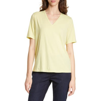 Petite Eileen Fisher V-Neck Organic Cotton Tee, Green