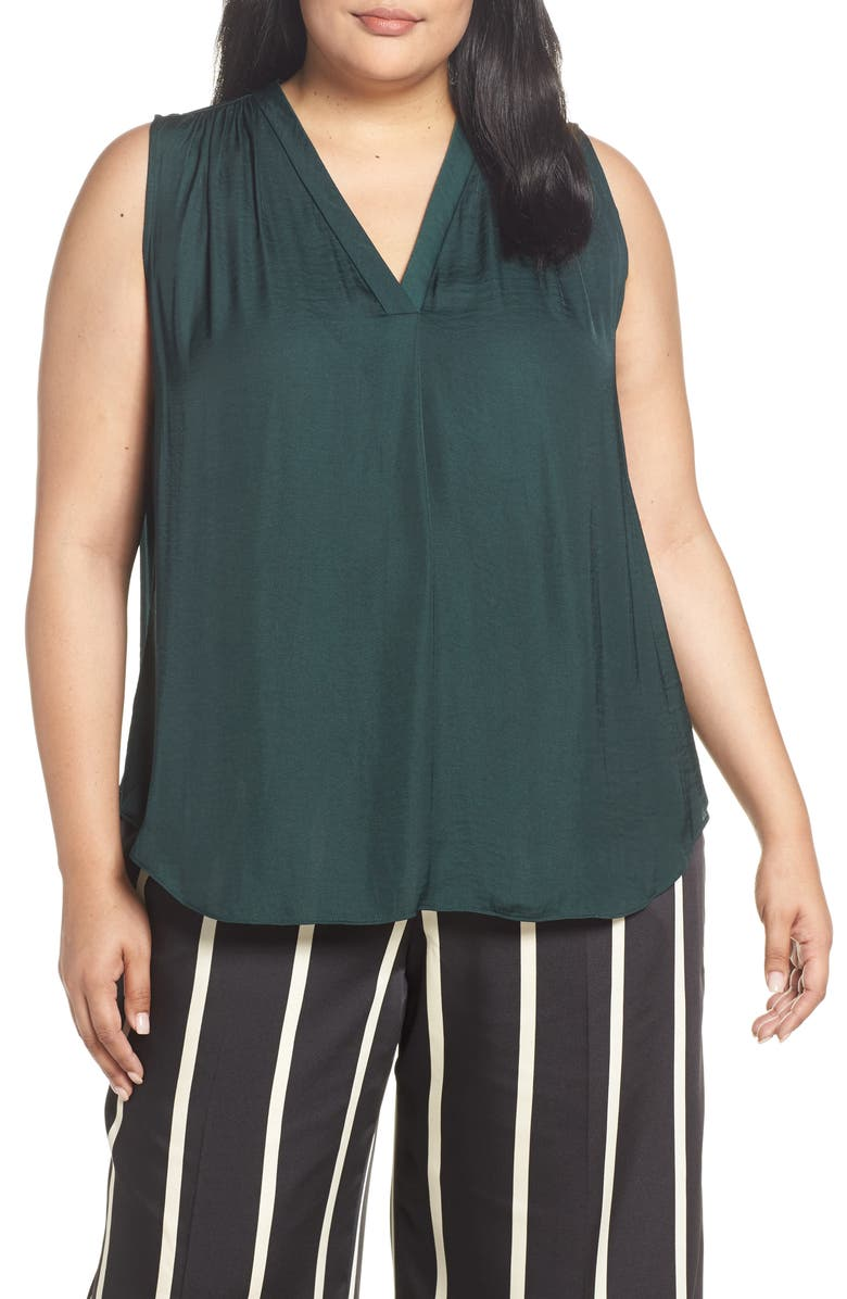 VINCE CAMUTO V-Neck Rumple Satin Blouse, Main, color, 313