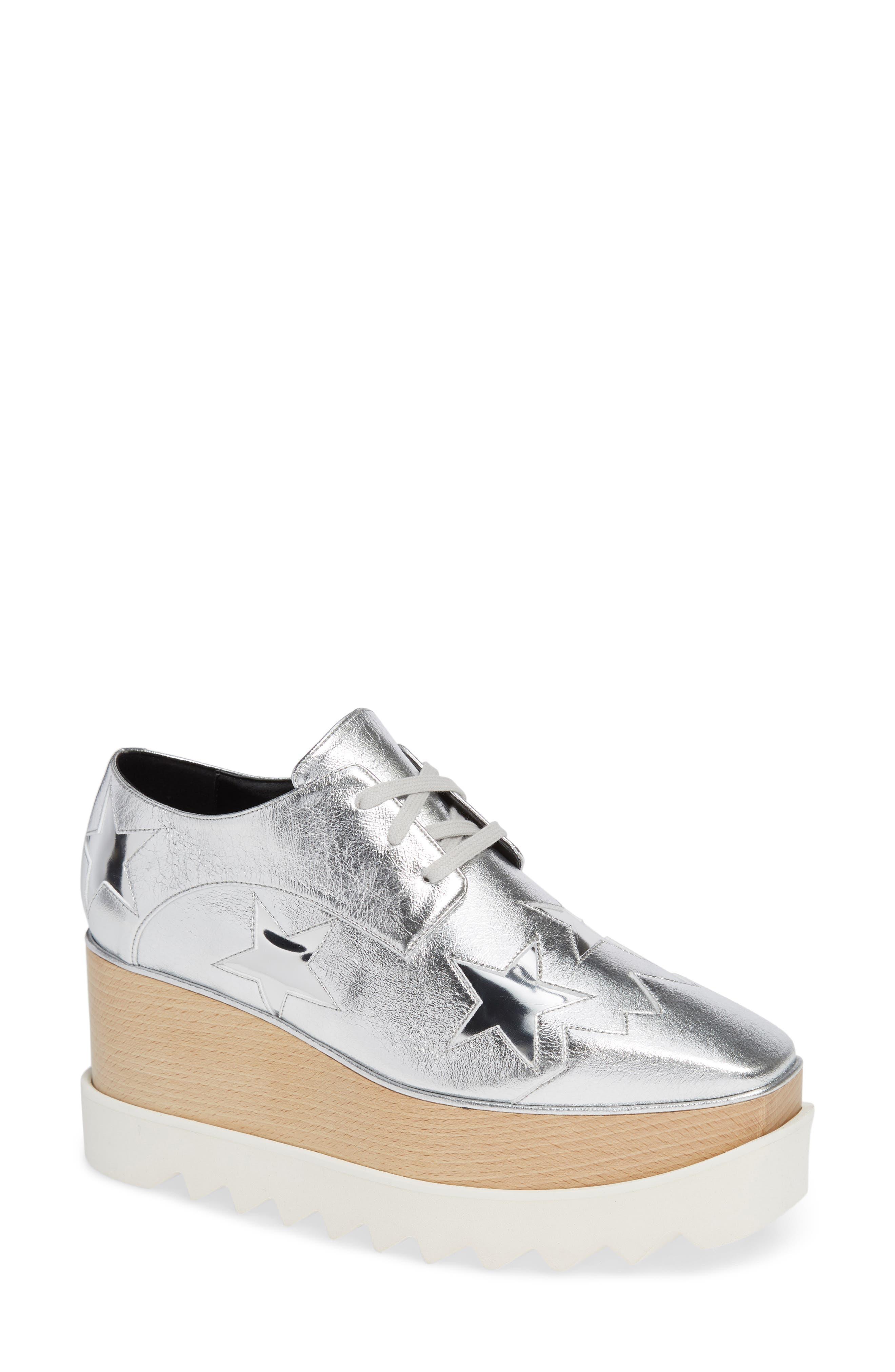 Stella Mccartney Elyse Platform Wedge Shoe, Metallic