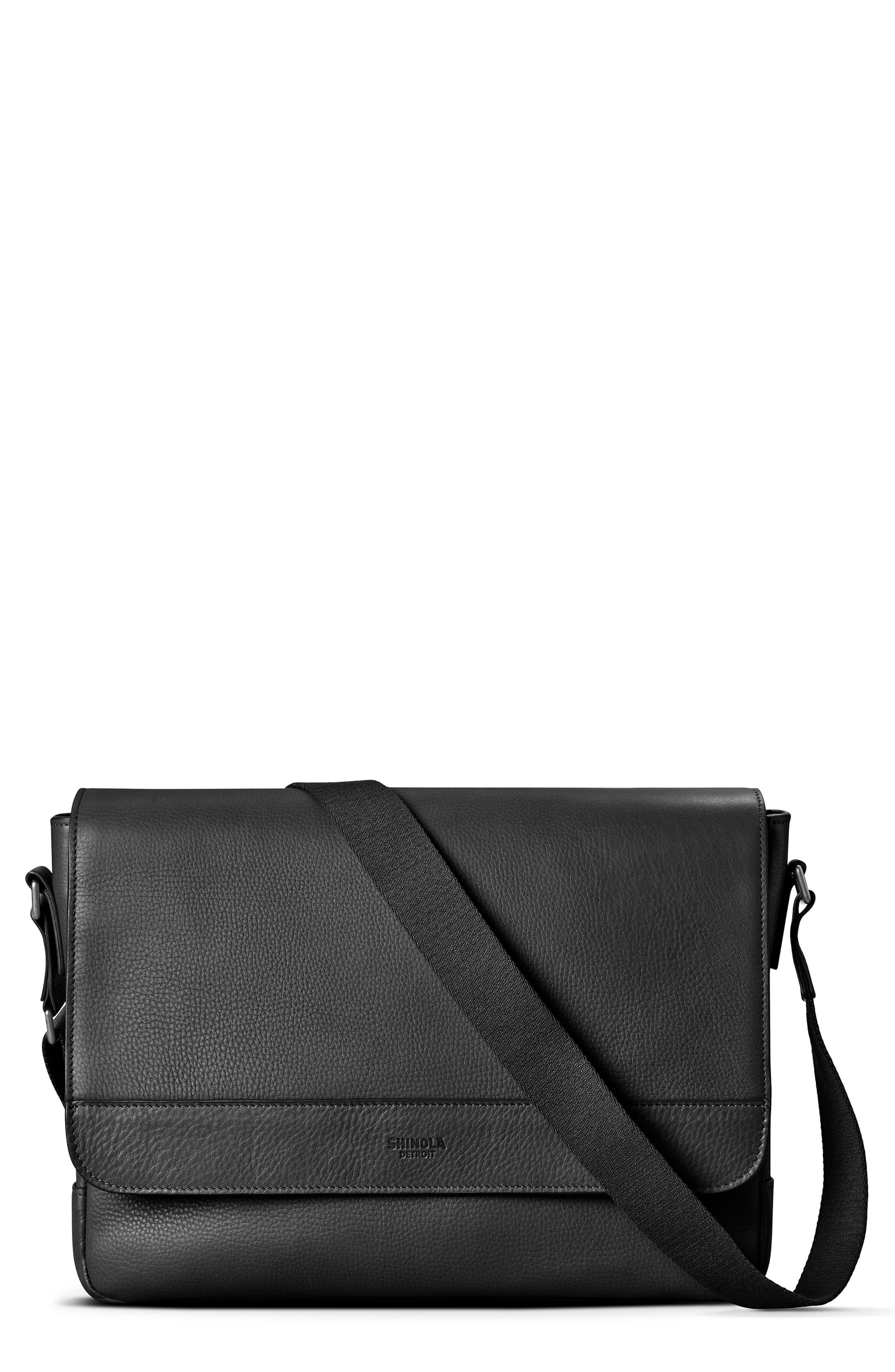 ,                             Slim Leather Messenger Bag,                             Main thumbnail 1, color,                             BLACK